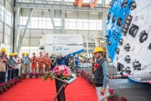 Mr. Saroj Chandra Pandit, Deputy Director General of  DOI (Department of Irrigation) speaking at the Factory Acceptance Testing. Other speakers included Mr. Lin Qiang, Deputy Manager of China Railway No. 2 Engineering Co., Ltd and Mike Kolenich from Robbins. Photo: The Robbins Company