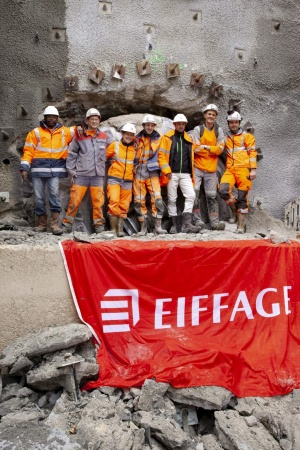Contractor Eiffage Civil Construction celebrates the April 2019 breakthrough of a 3.5 m (11.5 ft) diameter Robbins Main Beam TBM in Cassis, France. (Photo: The Robbins Company)