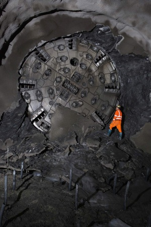 A 6.2 m (20.3 ft) Robbins Crossover (XRE) TBM broke through at the Moglice Headrace Tunnel in Devoll, Albania on May 3, 2018. (Photo: The Robbins Company)