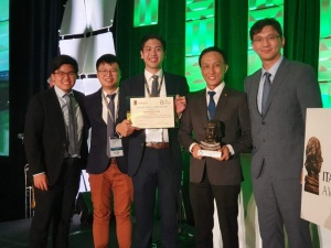Proud Autonomous TBM innovators: Engineers, John Lim Ji Xiong and Liew Kit Shen, Acting Tunnel General Manager, Justin Chin Jing Ho and Deputy Project Director, Ng Hau Wei pose with ITA Executive Council Member, Hangseok Choi (left to right) with their hard-won Technical Product Innovation of the Year trophy from ITA.